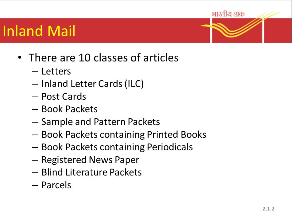 Inland Mail There are 10 classes of articles Letters