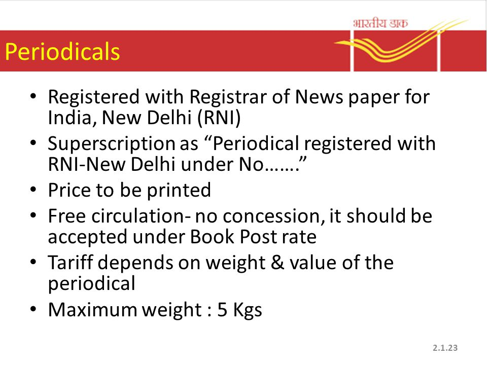 Periodicals Registered with Registrar of News paper for India, New Delhi (RNI)