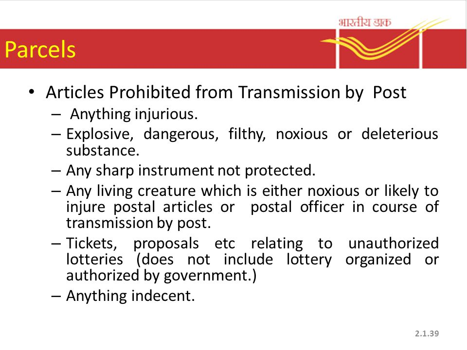 Parcels Articles Prohibited from Transmission by Post