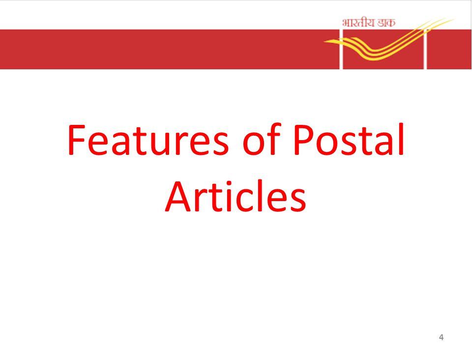Features of Postal Articles