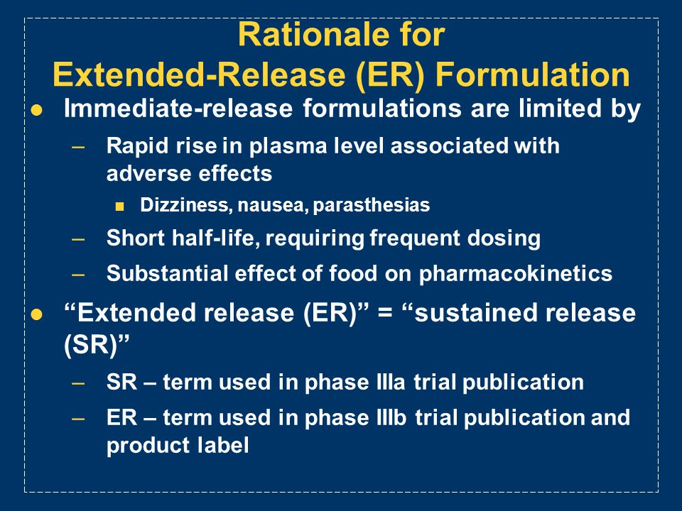 Rationale for Extended-Release (ER) Formulation