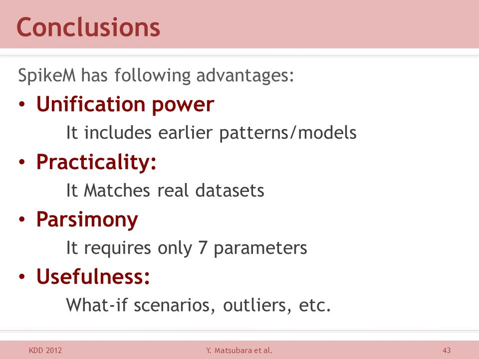 Conclusions Unification power Practicality: Parsimony Usefulness: