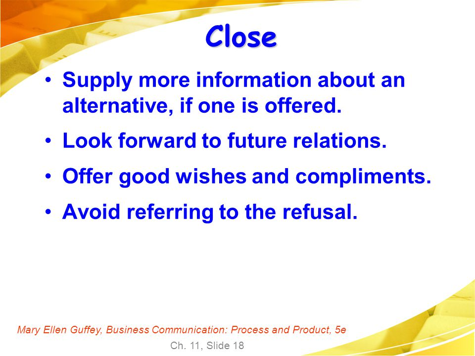 Close Supply more information about an alternative, if one is offered.