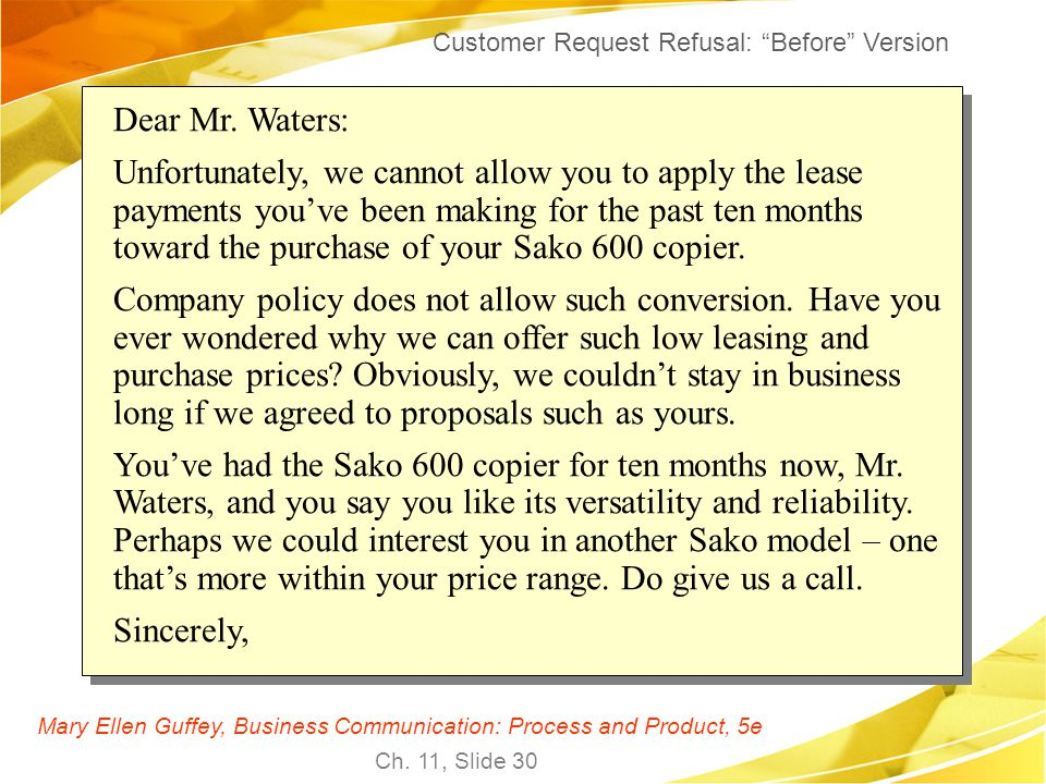 Customer Request Refusal: Before Version