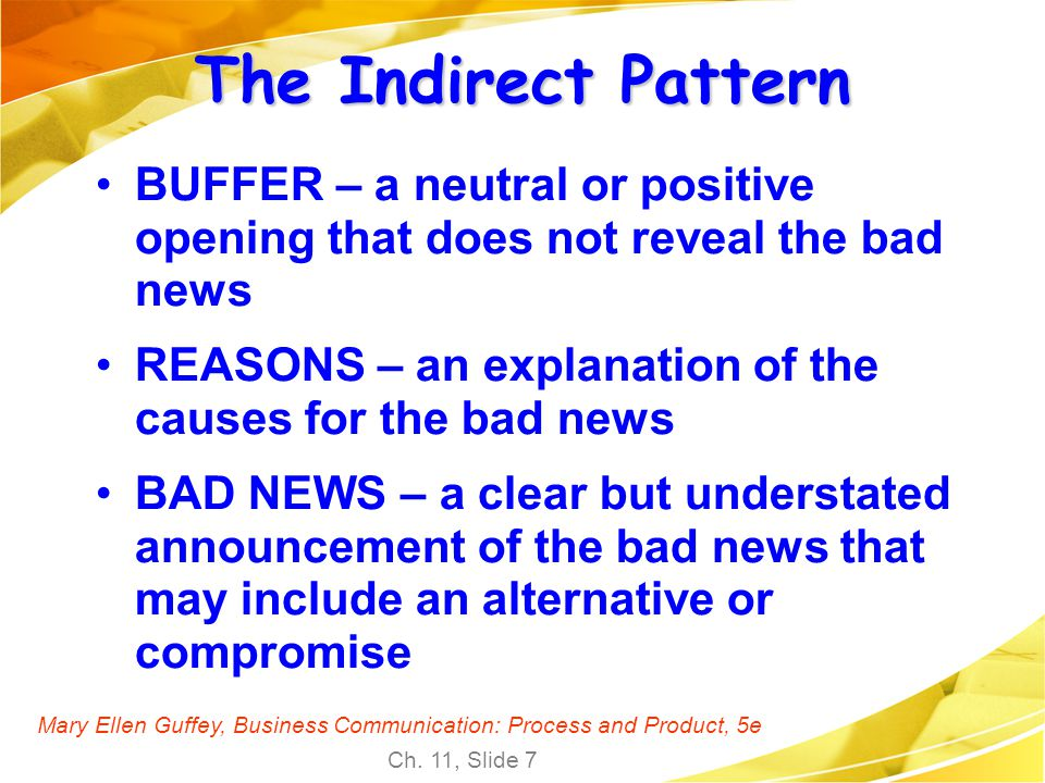 The Indirect Pattern BUFFER – a neutral or positive opening that does not reveal the bad news.