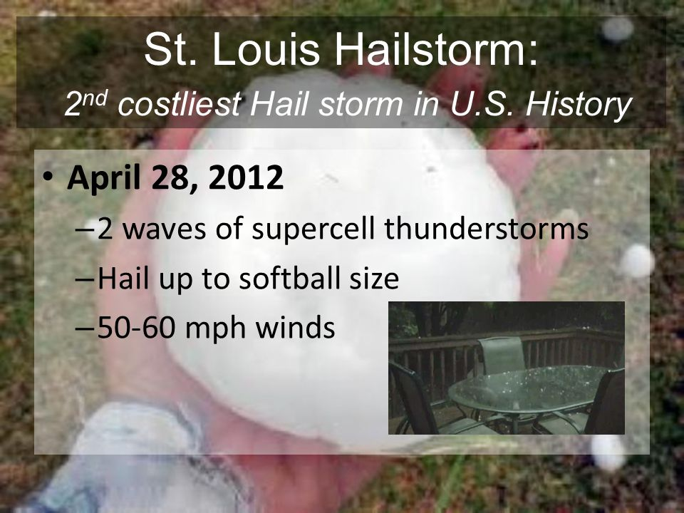 St. Louis Hailstorm: 2nd costliest Hail storm in U.S. History