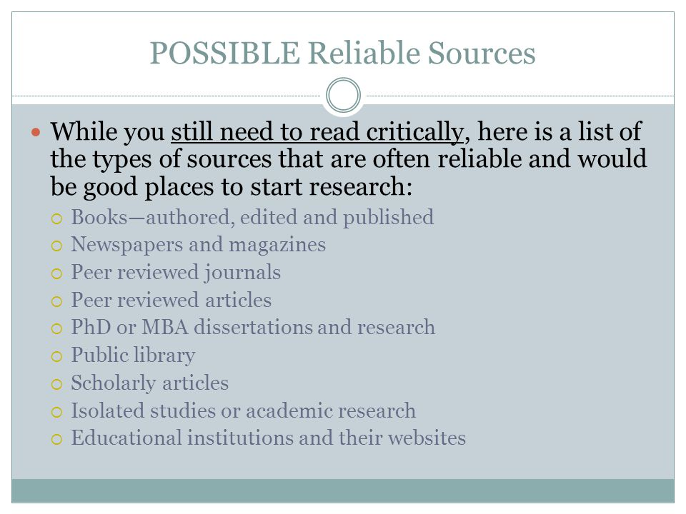 POSSIBLE Reliable Sources