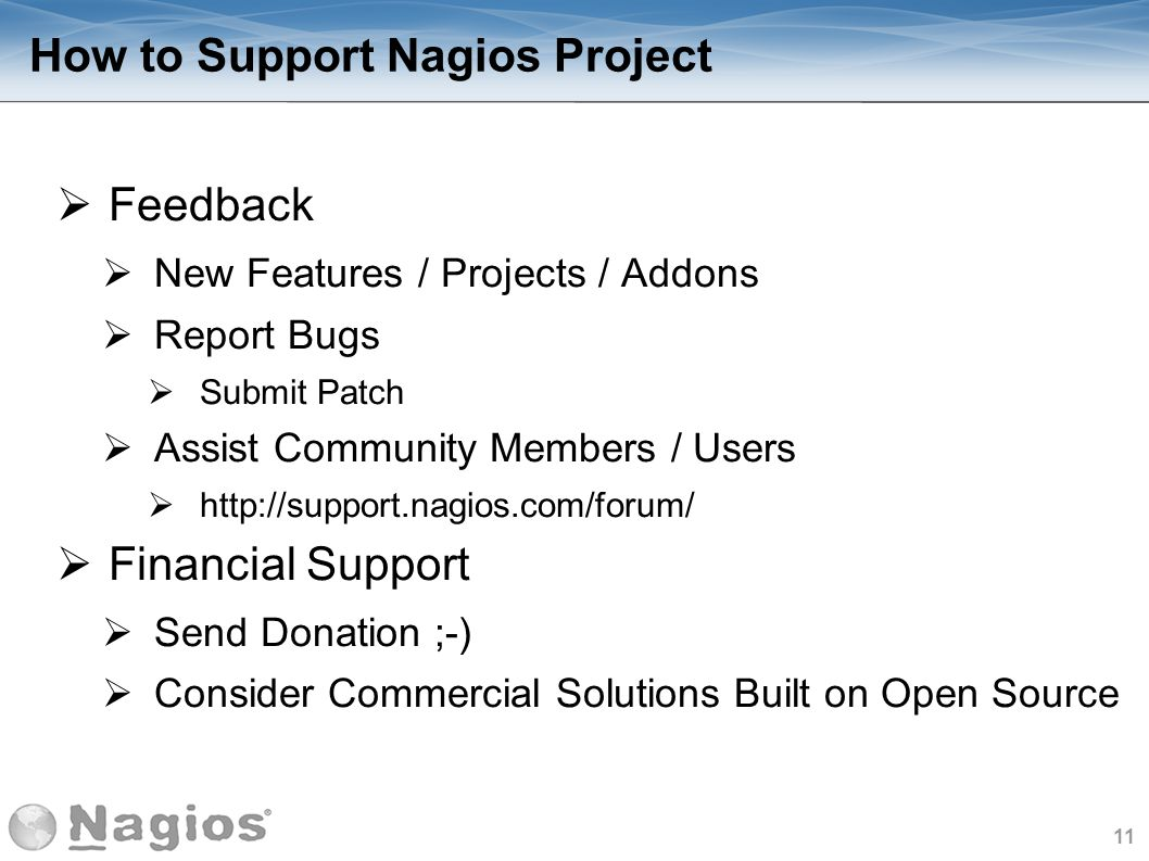 How to Support Nagios Project