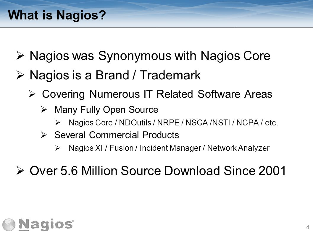 Nagios was Synonymous with Nagios Core Nagios is a Brand / Trademark