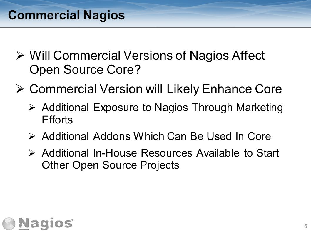 Will Commercial Versions of Nagios Affect Open Source Core