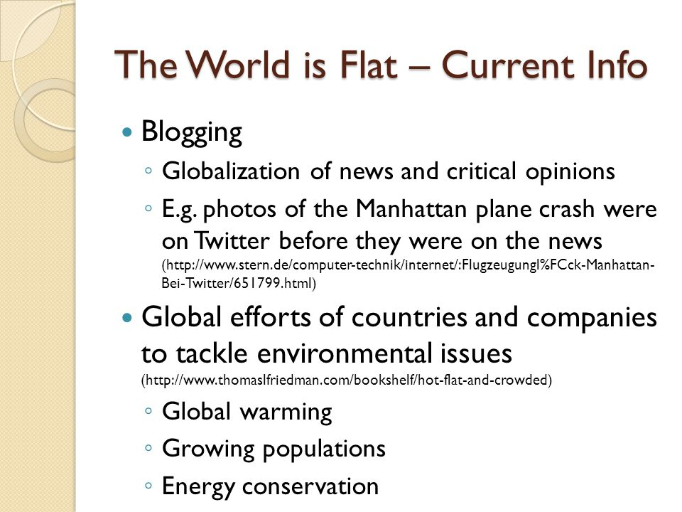 The World is Flat – Current Info