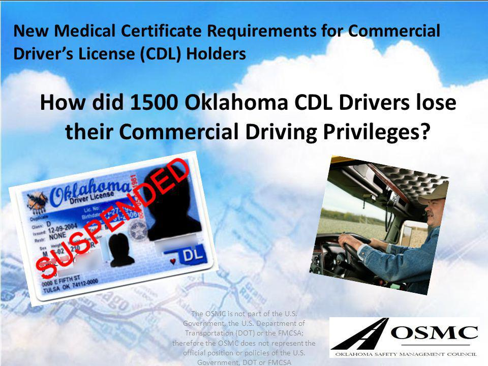 New Medical Certificate Requirements for Commercial Driver's License (CDL) Holders