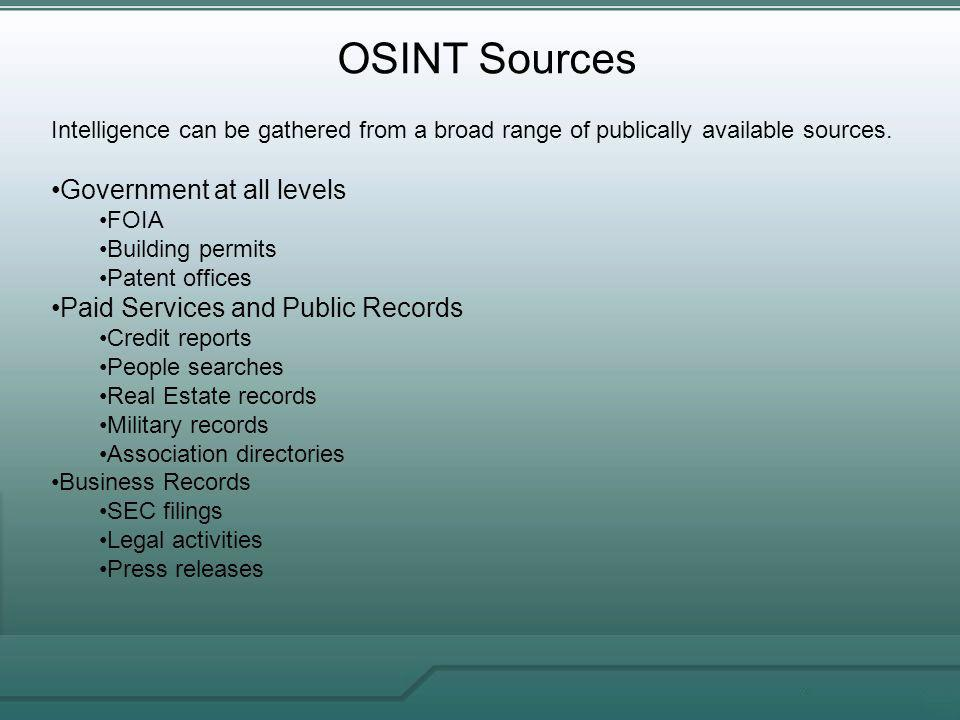 OSINT Sources Government at all levels