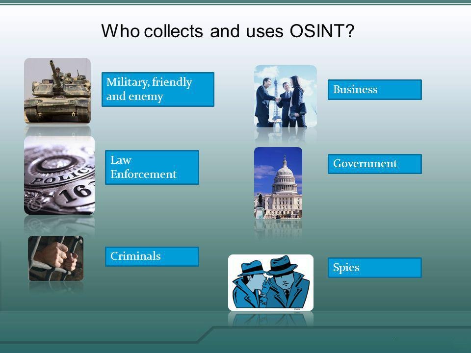 Who collects and uses OSINT