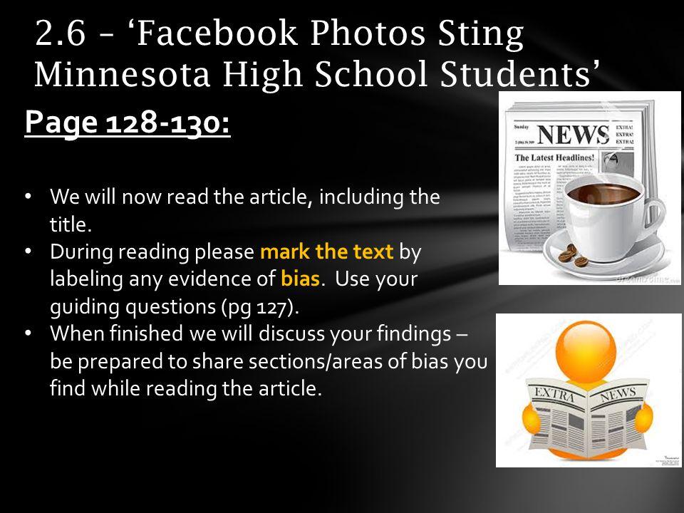 2.6 – 'Facebook Photos Sting Minnesota High School Students'