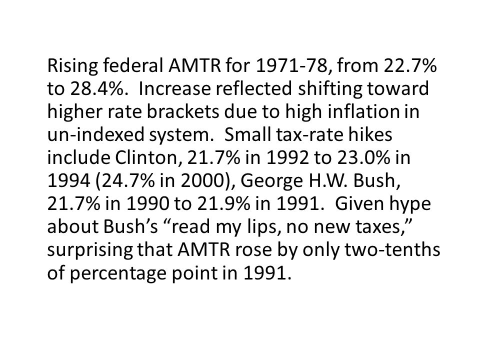 Rising federal AMTR for 1971-78, from 22. 7% to 28. 4%