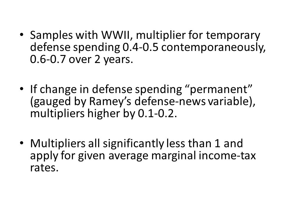 Samples with WWII, multiplier for temporary defense spending 0. 4-0