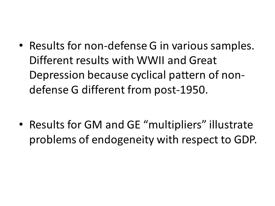 Results for non-defense G in various samples