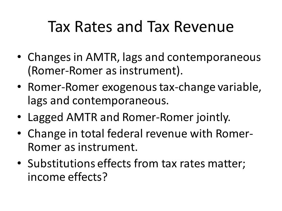 Tax Rates and Tax Revenue