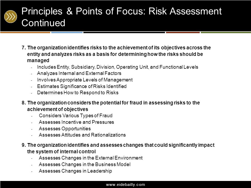 Principles & Points of Focus: Risk Assessment Continued