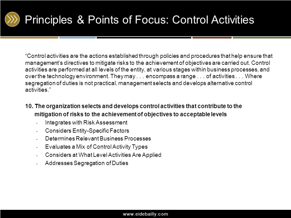 Principles & Points of Focus: Control Activities
