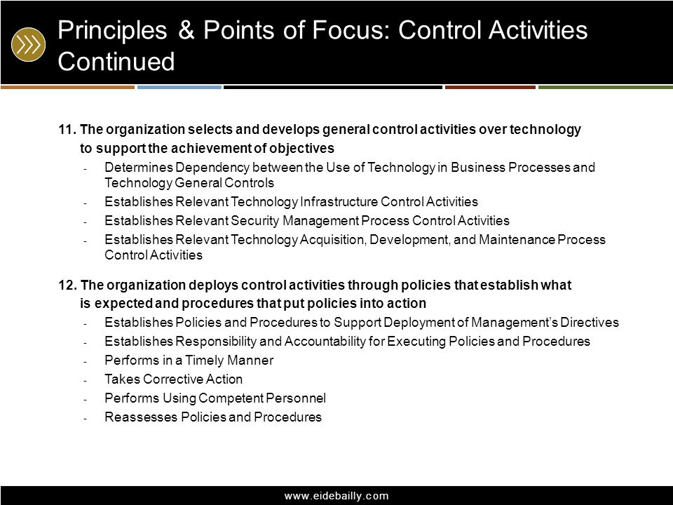 Principles & Points of Focus: Control Activities Continued