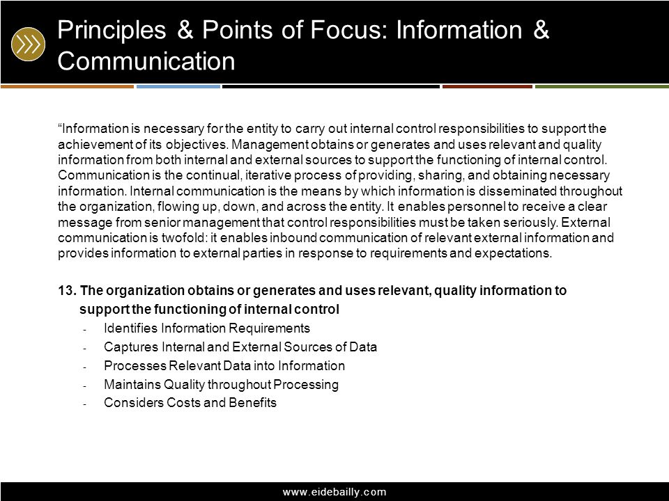 Principles & Points of Focus: Information & Communication