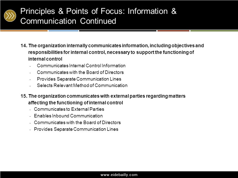 Principles & Points of Focus: Information & Communication Continued