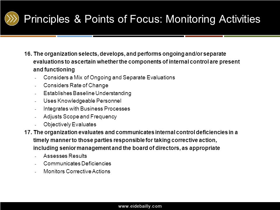 Principles & Points of Focus: Monitoring Activities