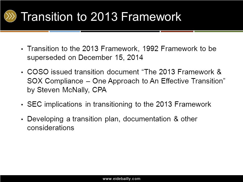 Transition to 2013 Framework