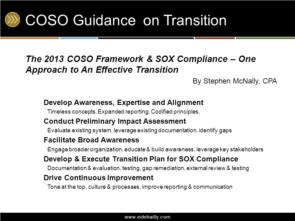 COSO Guidance on Transition