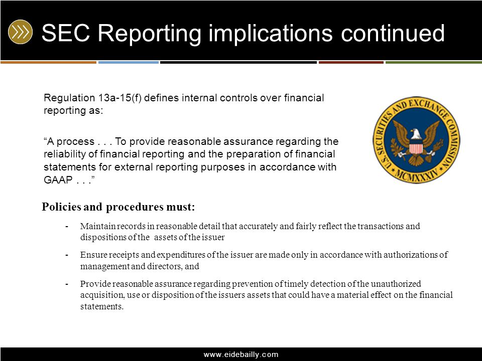 SEC Reporting implications continued