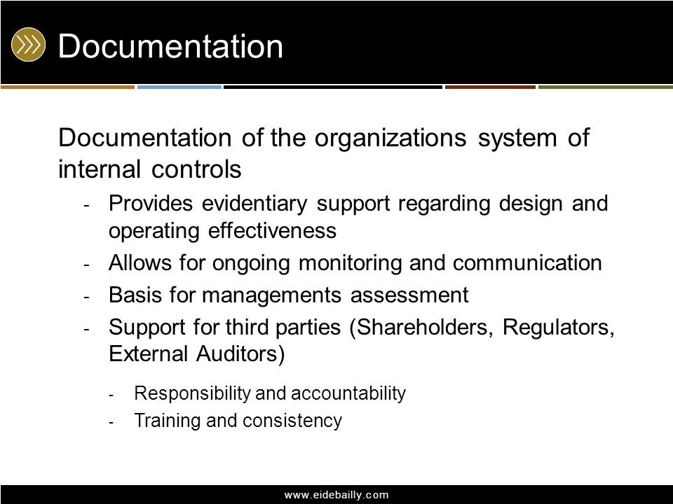Documentation Documentation of the organizations system of internal controls.