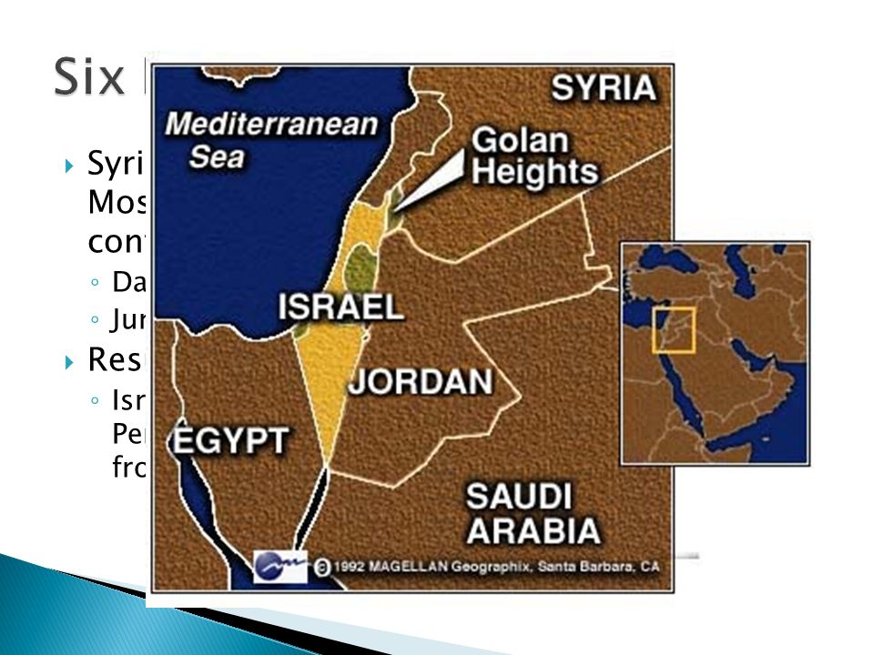 Six Day War Syria accepted the cease fire on June 9th but Moshe Dayan wanted an opportunity to confront Syria.