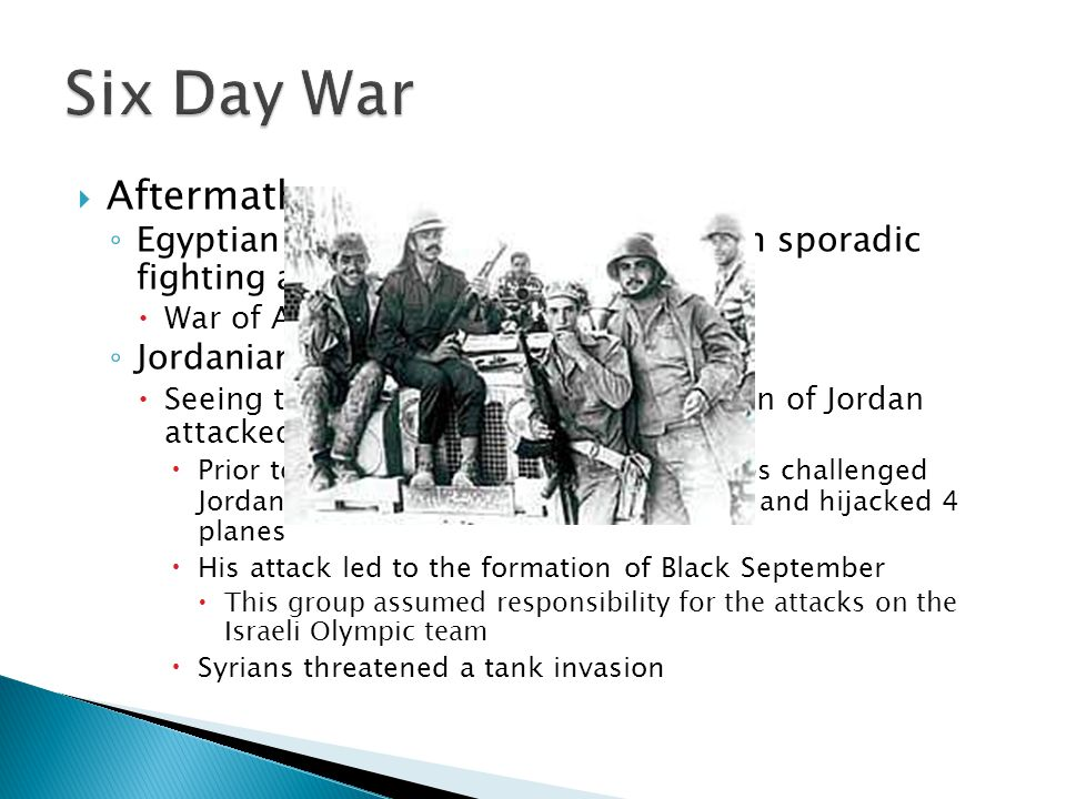 Six Day War Aftermath. Egyptian and Israeli forces engaged in sporadic fighting across the border.