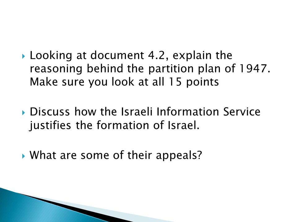 Looking at document 4.2, explain the reasoning behind the partition plan of 1947. Make sure you look at all 15 points
