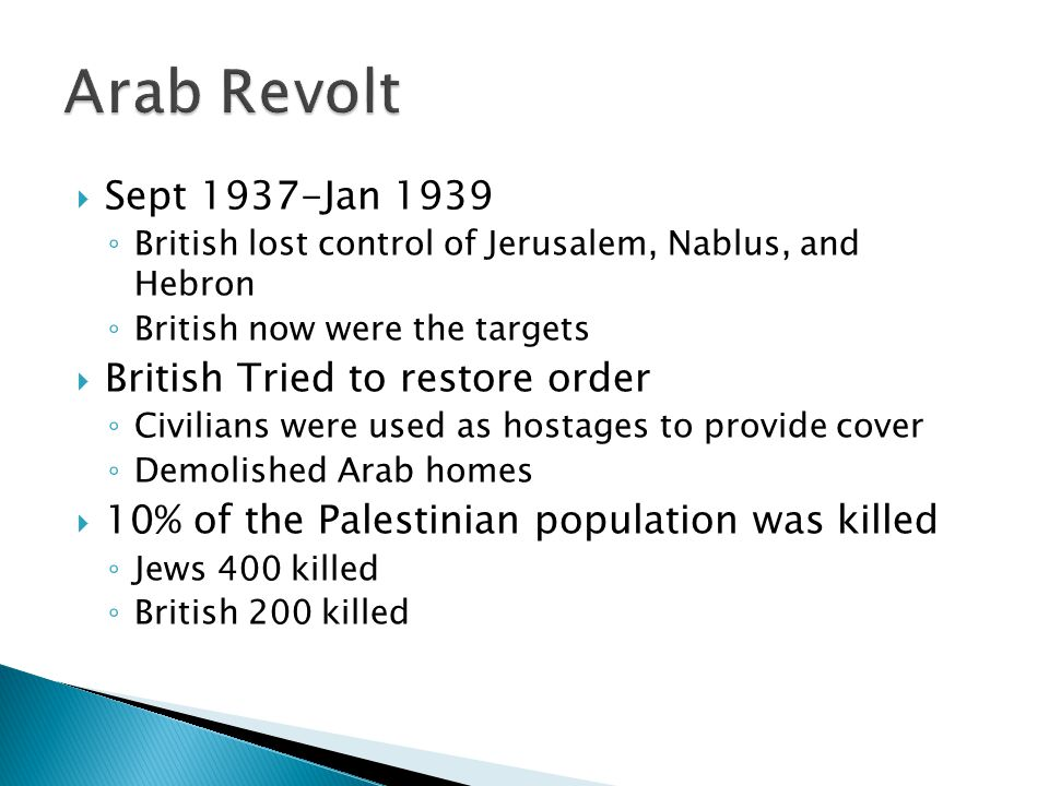 Arab Revolt Sept 1937-Jan 1939 British Tried to restore order
