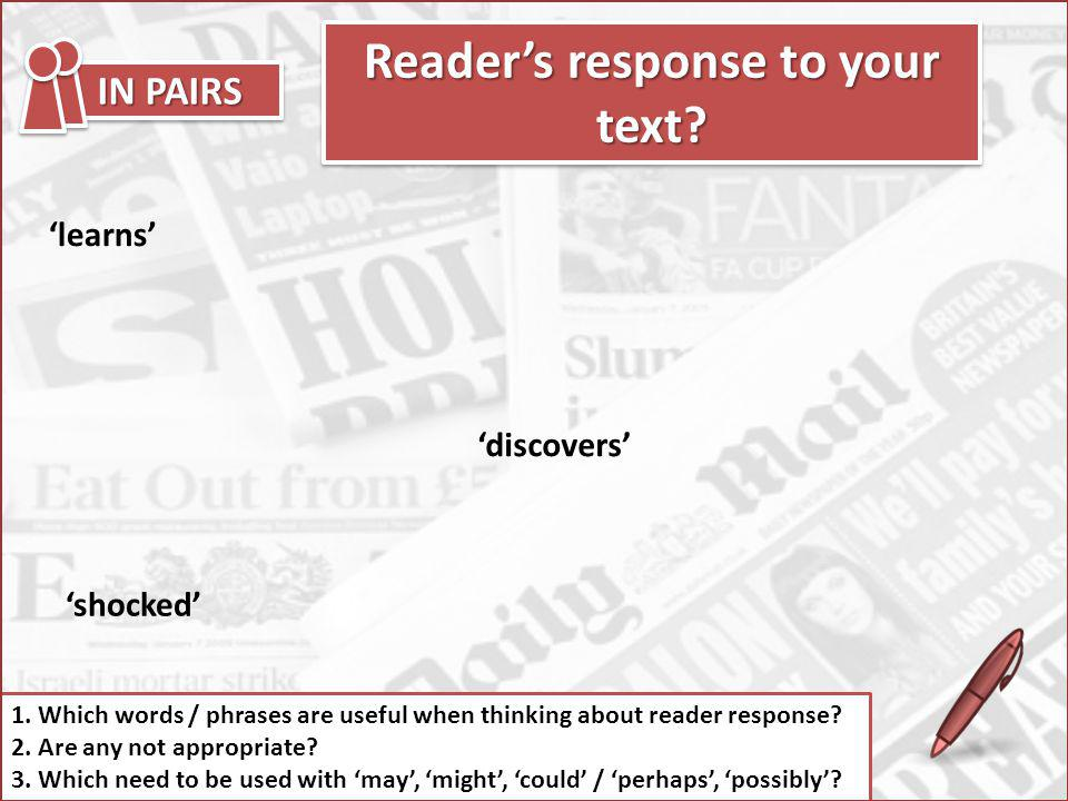 Reader's response to your text