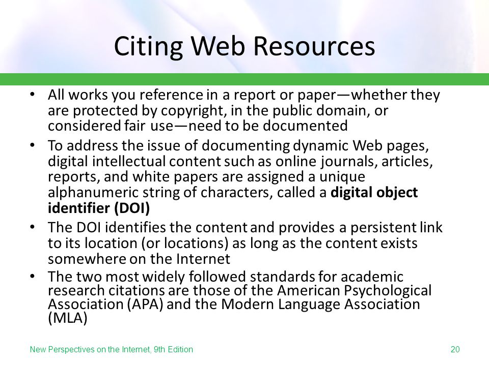 Citing Web Resources