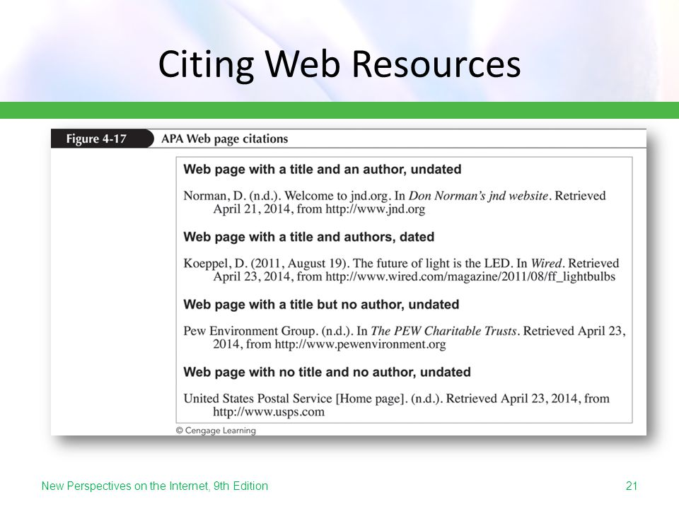 Citing Web Resources New Perspectives on the Internet, 9th Edition