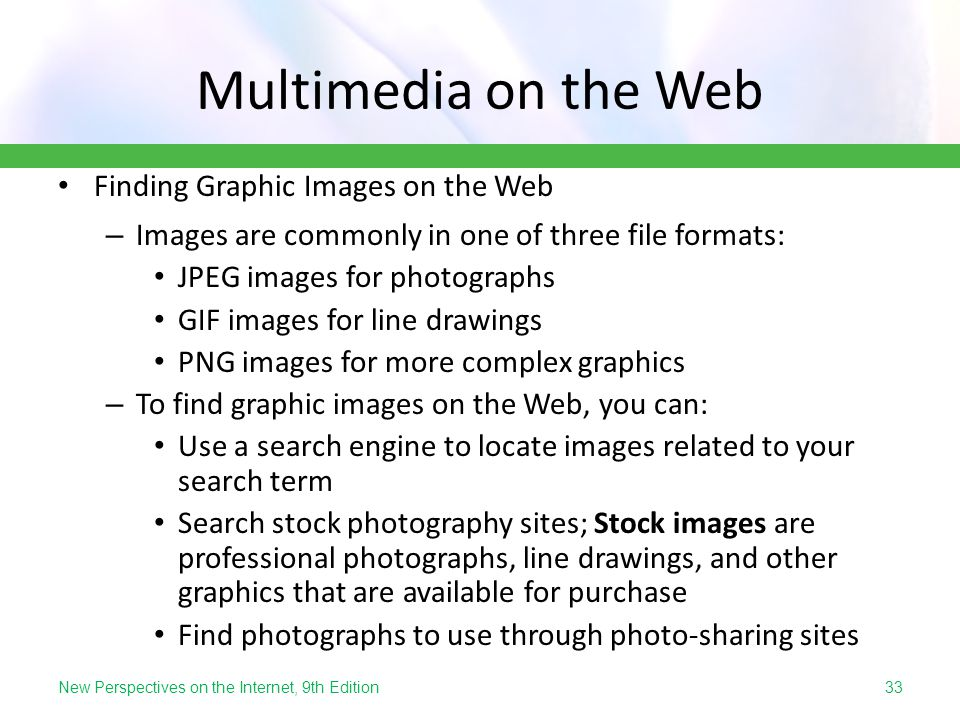 Multimedia on the Web Finding Graphic Images on the Web