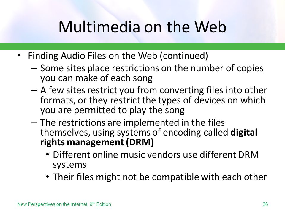 Multimedia on the Web Finding Audio Files on the Web (continued)
