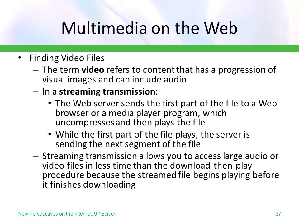 Multimedia on the Web Finding Video Files