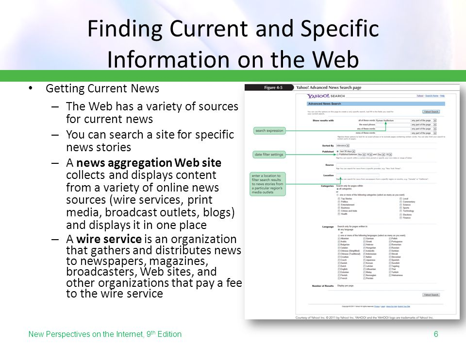 Finding Current and Specific Information on the Web