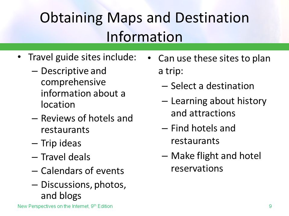 Obtaining Maps and Destination Information