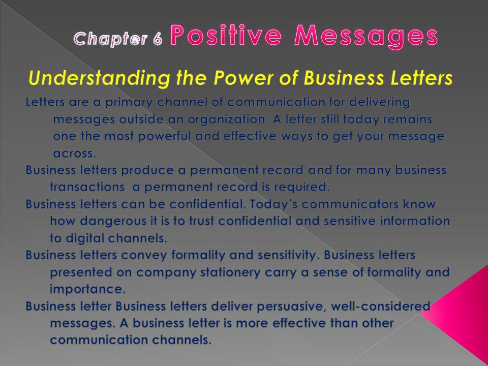 Chapter 6 Positive Messages