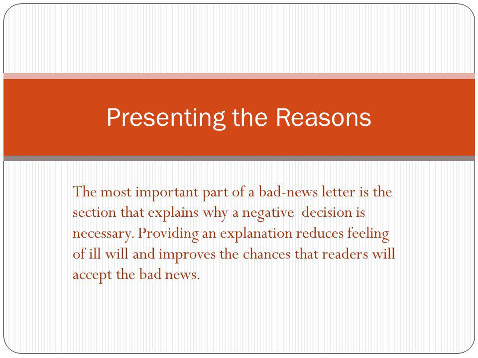 Presenting the Reasons