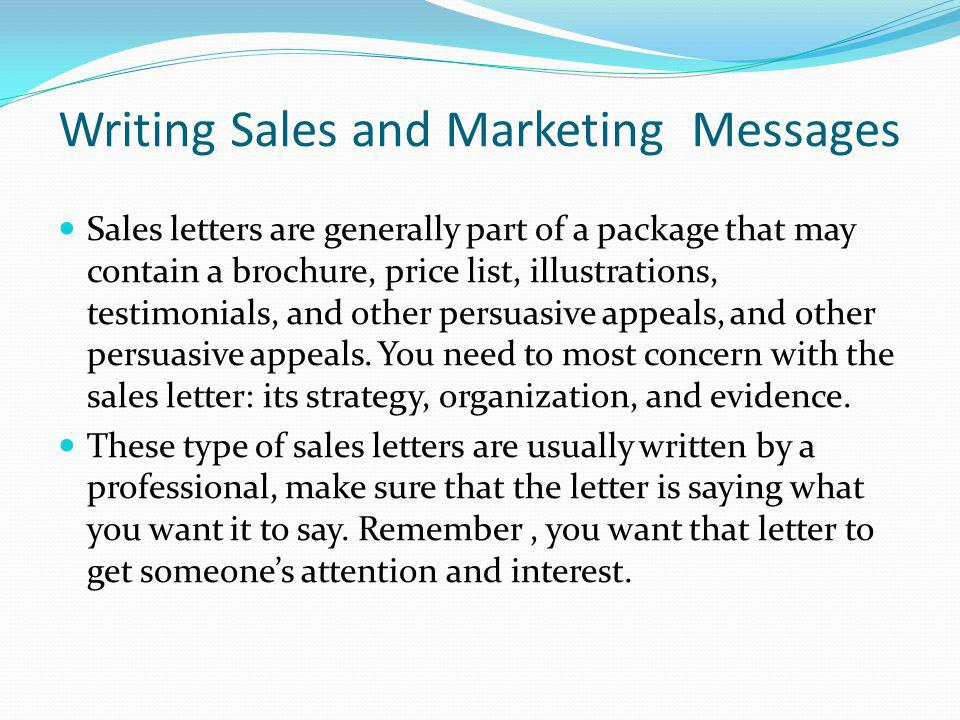Writing Sales and Marketing Messages