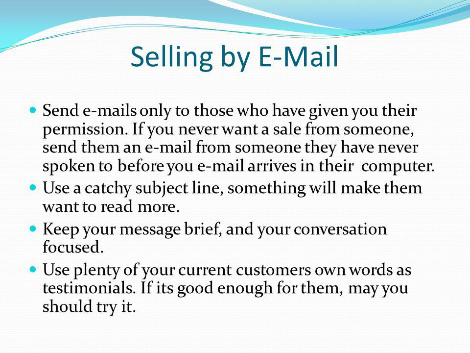 Selling by E-Mail