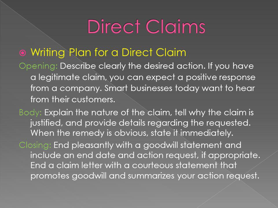 Direct Claims Writing Plan for a Direct Claim